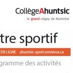 Centre sportif<br>calendrier des activités